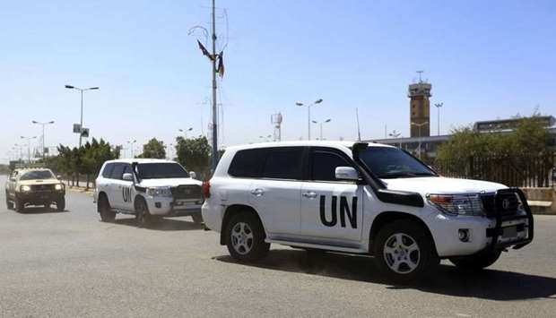 The motorcade of UN special envoy for Yemen travelling en route to Sanaa International Airport