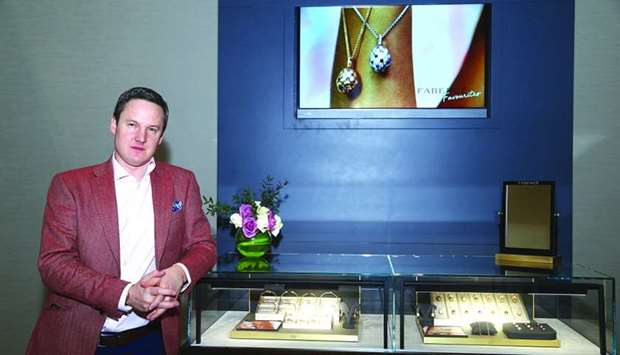 Faberge managing director Antony Lindsay beside the 'egg bar'