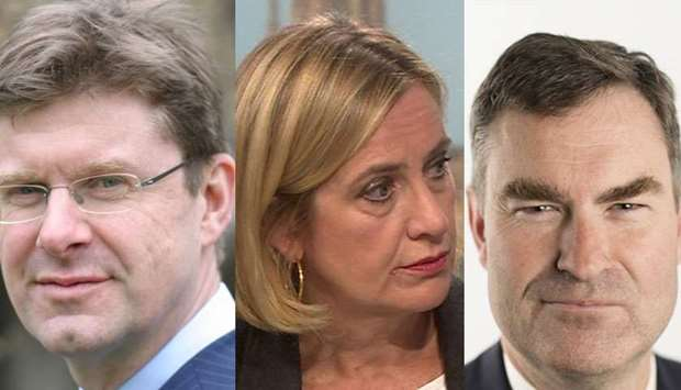 Business minister Greg Clark(L), work and pensions minister Amber Rudd (M) and justice minister Davi