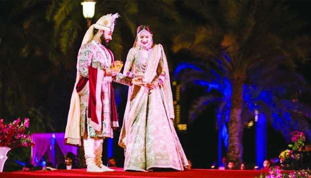 The bride and groom during the wedding ceremony at The Ritz Carlton, Doha. Supplied picture