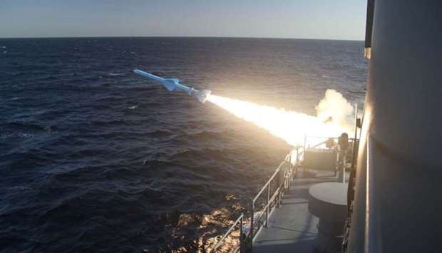 An Iranian Navy missile launch during a military drill in the Gulf of Oman