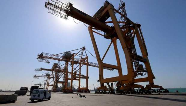 A view of cranes at the container terminal at the Red Sea port of Hodeidah.