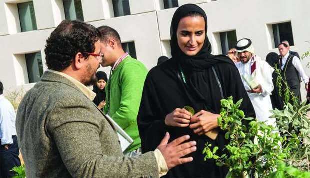 HE Sheikha Hind bint Hamad al-Thani attending sustainability event at Education City.