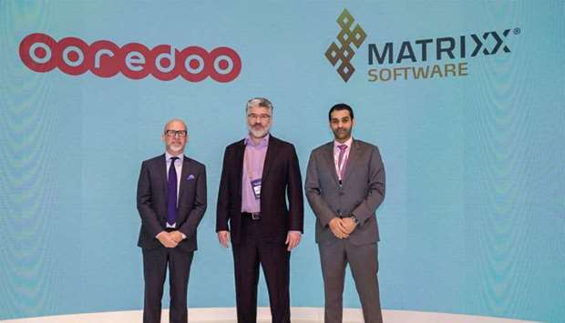 Ooredoo and MATRIXX Software executives during the partnership announcement at the Mobile World Cong