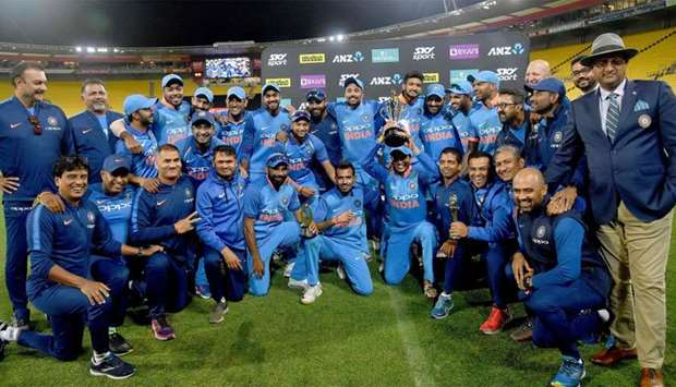 India celebrate winning the ODI series following the fifth one-day international (ODI) cricket match