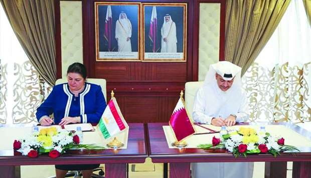 HE Yousef bin Mohamed al-Othman Fakhroo and Sumangul Taghoizoda signing the agreement