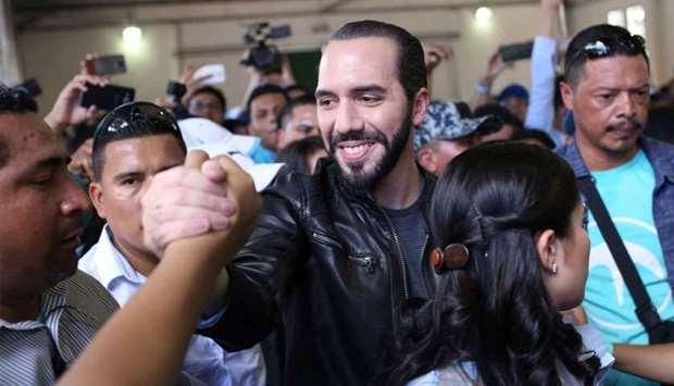 Presidential candidate Nayib Bukele of the Great National Alliance (GANA) greets supporters