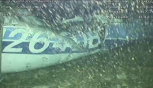 The wreckage of the missing aircraft carrying soccer player Emiliano Sala is seen on the seabed near