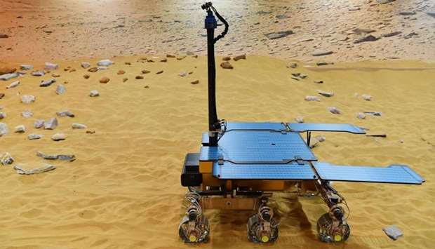A working prototype of the newly named Rosalind Franklin ExoMars rover at the Airbus Defence and Spa