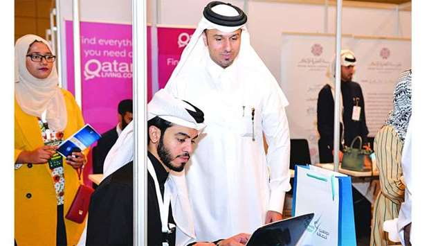 A participant being guided at Education City Career Fair.