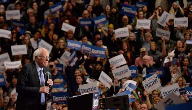 US Presidential Candidate Senator Bernie Sanders speaks at a campaign rally at Keene State College i