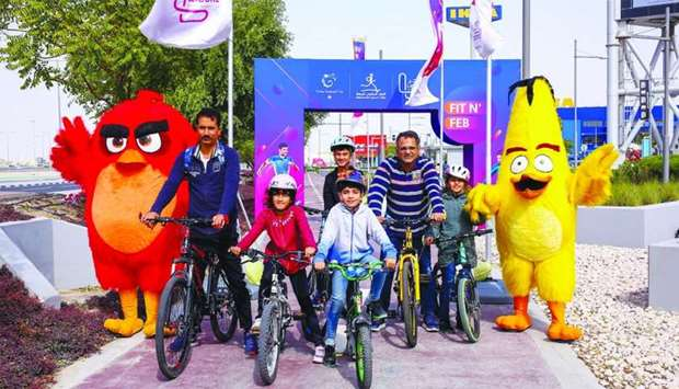 Cycling marathons for adults and children held at Doha Festival City on National Sport Day.