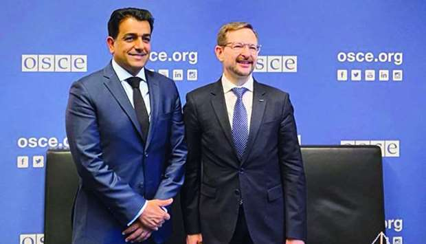 HE Dr Mutlaq bin Majed al-Qahtani during a meeting with OSCE secretary-general Thomas Greminger.