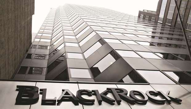A BlackRock logo hangs above the entrance to its headquarters building in New York. BlackRock said i