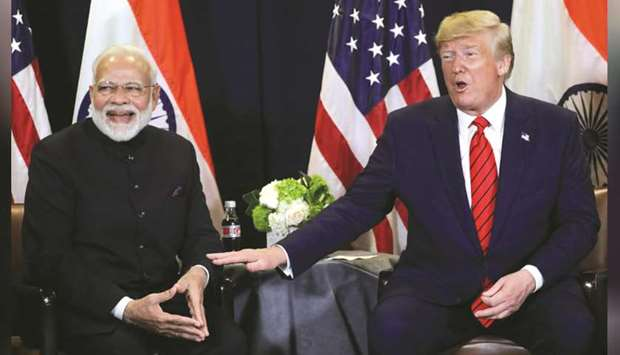 US President Donald Trump holds a bilateral meeting with India's Prime Minister Narendra Modi on the