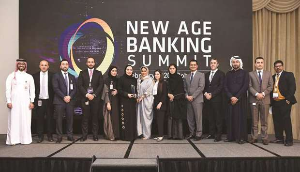 Rana al-Asaad, head of Personal Banking at Al Khaliji, with other winners of the New Age Banking & F