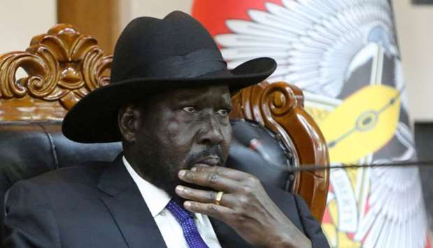 South Sudan's President Salva Kiir attends a meeting on the cutting of the number of states from 32