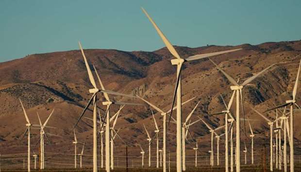 A wind farm in Movave, California.