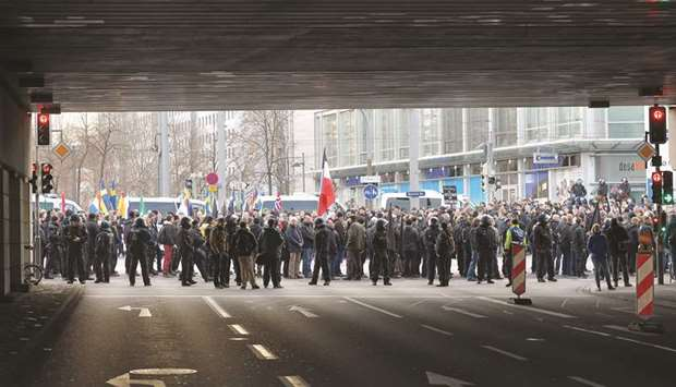 Far-right groups march following the 75th anniversary of the WWII bombings in Dresden. Around 1,500