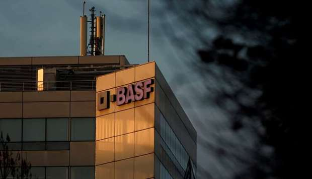 The chemical company BASF building in Levallois-Perret, near Paris, France, is seen at sunset.