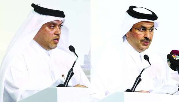 Abdulla Mohamed al-Mannai and HE Abdullah bin Nasser Turki al-Subaey speaking at the forum. PICTURES