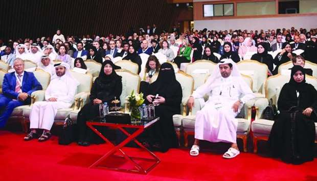 HE the Minister of Public Health Dr Hanan Mohamed al-Kuwari and other dignitaries at the opening ses