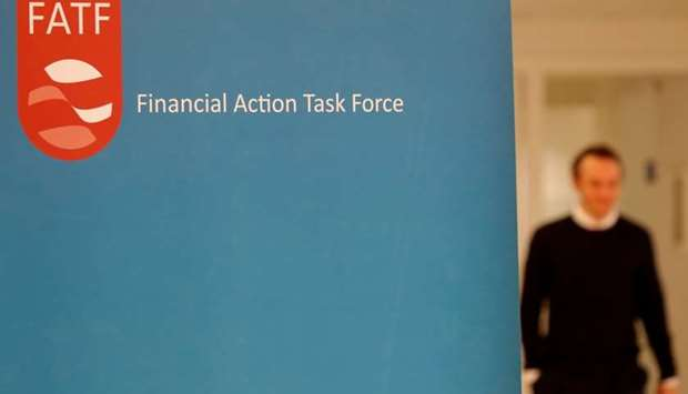 The logo of the FATF (the Financial Action Task Force) is seen after a plenary session in Paris, Fra
