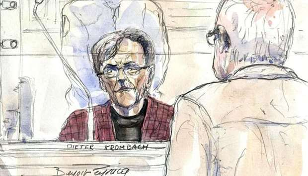 This file court sketch made on March 29, 2011 at the Paris' courthouse, shows then 75 year-old retir