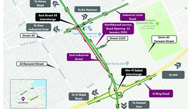 Ashghal opens service lane of East Industrial Road