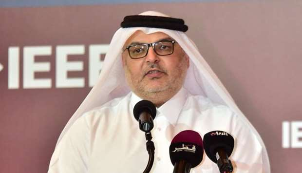Ashghal president Saad bin Ahmed al-Muhannadi addressing the WCET on Sunday.