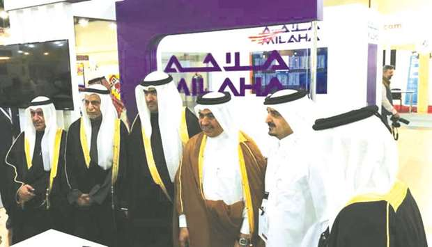HE the Minister of Commerce and Industry Ali bin Ahmed al-Kuwari at the Milaha booth during the 'Mad