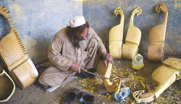 Traditional rabab musical instrument in a workplace