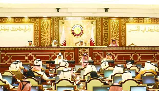 HE the Speaker of the Shura Council Ahmed bin Abdullah bin Zaid al-Mahmoud chairing Monday's session