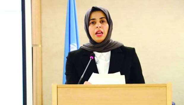 HE Lolwah Rashid AlKhater addressing meetings of the high-level segment of the 43rd session of the U