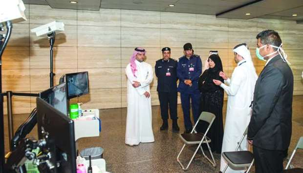 HE the Minister of Public Health Dr Hanan Mohamed al-Kuwari being briefed Tuesday on the equipment a