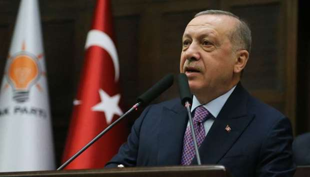 President of Turkey and leader of Justice and Development (AK) Party, Recep Tayyip Erdogan, speaks d
