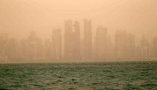 Dusty conditions in Doha Wednesday.