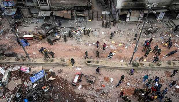 A general view of the riot-hit area following clashes between people supporting and opposing a cente