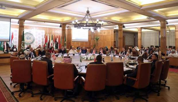 Participants attend the 53rd session of the Arab Health Ministers Council at the headquarters of Ara