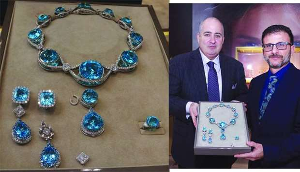 "Peter Delisi and William Boyajian (right) shows the 525carat ""paraiba suite"". PICTURE: Jayan Orma."