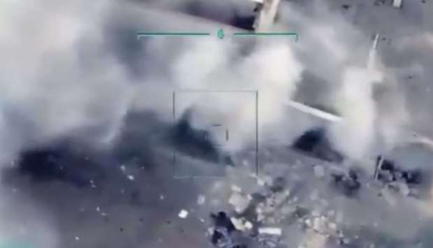 An image grab from a video posted online that purportedly shows the chemical warfare facility in Syr