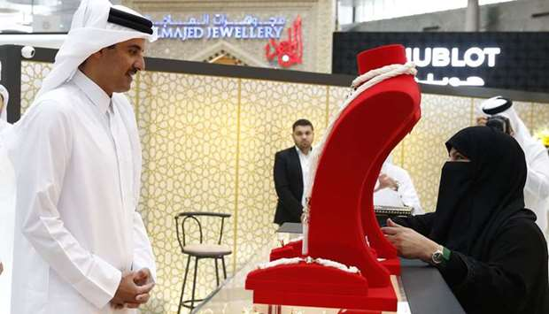 His Highness the Amir Sheikh Tamim bin Hamad Al-Thani tours Doha Jewellery and Watches Exhibition