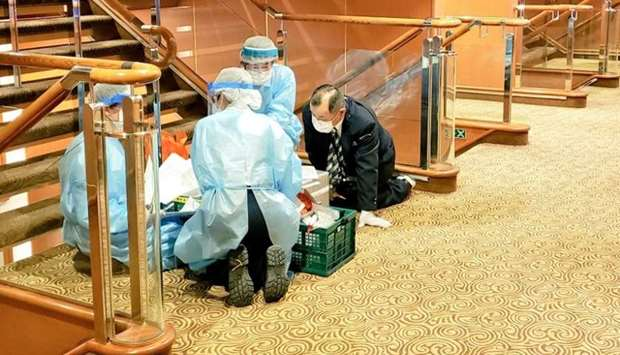 Quarantine operation on the eighth deck of cruise ship Diamond Princess in Yokohama
