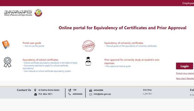 Electronic system for equivalence of school certificate