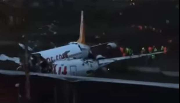 Plane crashes after landing in Istanbul, no fatalities