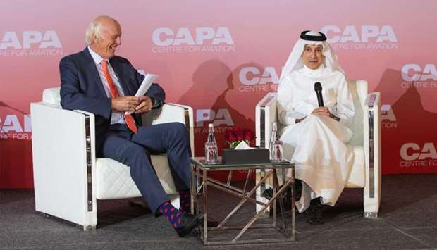 Al-Baker with Peter Harbison, chairman emeritus, CAPA-Centre for Aviation at at the CAPA Qatar Aviat