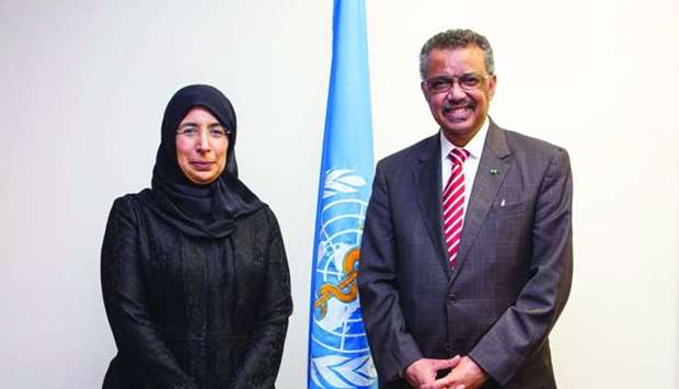 HE the Minister of Public Health Dr Hanan Mohamed al-Kuwari with the WHO director-general Dr Tedros