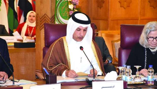 HE the Minister of Finance Ali Sherif al-Emadi addressing the meeting in Cairo on Thursday.