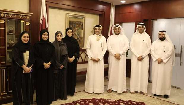 HE the Minister of Culture and Sports Salah bin Ghanem al-Ali with the members of the Youth Consulta