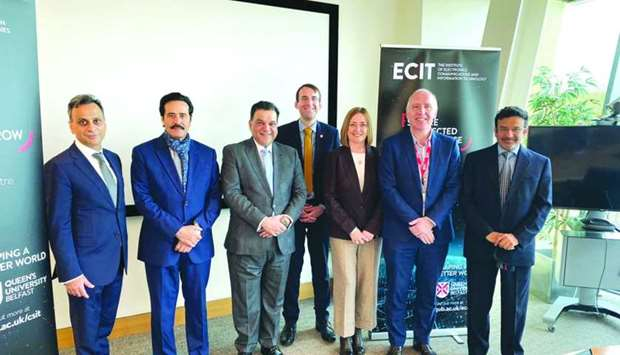 The Qatar Chamber delegation with British ambassador Ajay Sharma and officials from Northern Ireland